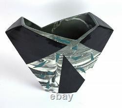 Vintage Modernist 80s Studio Pottery Teal Triangles Signed