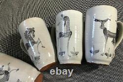 Vintage Modernist Edwin & Mary Scheier Studio Pottery Rare Set Of 6 Animal Mugs