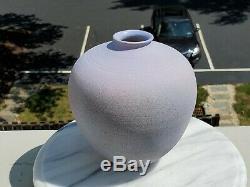 Vintage Norman Bacon Woodstock New York Lavender Raku Studio Pottery Vase 1984