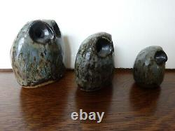 Vintage Owls Stoneware Ruth & Stan Walters Studio Pottery Set of 3 Owls