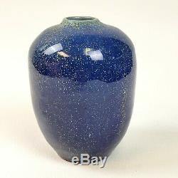 Vintage POLIA PILLIN Studio Art Pottery Blue Spotted Ceramic Bud Vase Signed