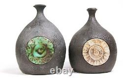 Vintage Pair of Studio Art Pottery Vases Circa 1960