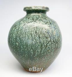 Vintage Paul Volckening Studio Pottery Variegated Blue Green Glaze Vase Signed