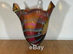 Vintage Peter Layton British Studio Art Glass Large Colourful Vase Signed. Superb