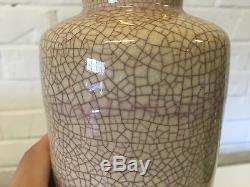 Vintage Pieter Groeneveldt Holland Studio Pottery Crackled Glaze Vase