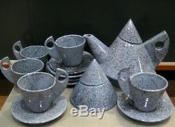 Vintage Postmodern Memphis Style Twelve Pieces of Marked Studio Pottery Tea