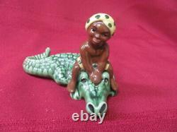 Vintage Pottery Madison Ceramic Arts Studio S & P Shakers Boy On Crocodile