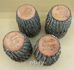 Vintage Puerto Rican Pottery 4 Bark Tumblers Art Pottery Studio Hal Lasky MCM