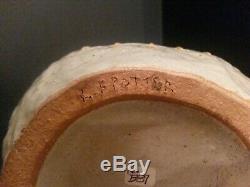 Vintage R. F. Potter Signed Brutalist Mid Century Modern Studio Art Pottery Vase