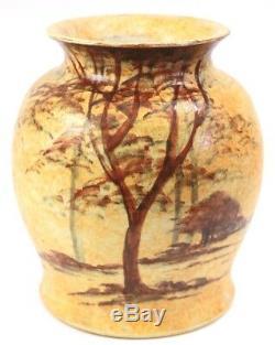 Vintage Radford Studio Art Pottery Vase Circa 1930 Woodland Scene