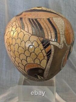 Vintage Randy Brodnax Art Studio Pottery Vase with Birds & a Fish