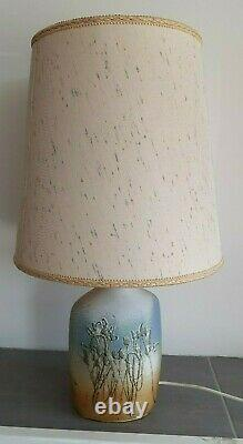 Vintage Retro Studio Pottery Large Lamp Tremaen, Cornwall Blue / Buff Flowers