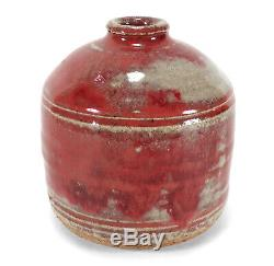 Vintage Richard Peeler Studio Art Pottery Weed Pot Bud Vase Maroon Oxblood Glaze