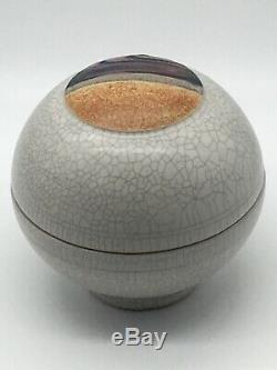 Vintage Rob Wiedmaier Studio Pottery Landscape Crackle Lidded Round Jar