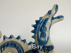 Vintage Rye Studio Pottery David Sharp Large Blue Glazed Dragon Sculpture c1960s