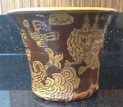 Vintage SHEEN William Lloyd Studio Pottery Slipware Pot Lion Mermaid Ship Decor