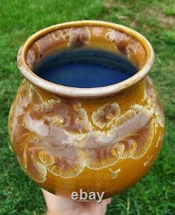 Vintage Sign Bill Campbell Crystalline Blue Gold Amber Glaze Studio Pottery Vase