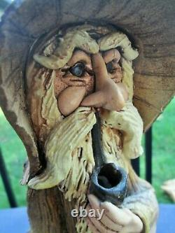 Vintage Signed CHREST Studio Art Pottery Wizard and Dragon Stoneware Statue 13