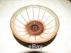 Vintage Signed Harlander Brooklin Art Studio Pottery Bowl Canada Green