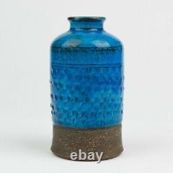 Vintage Signed Nils Herman A. Kähler Danish Blue Studio Pottery Vase 13 cm
