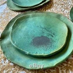 Vintage Signed Studio Pottery Stoneware Dishes Dinner and Salad Plates