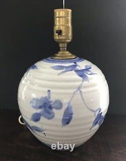 Vintage Simon Pearce / Miranda Thomas Blue Handpainted Studio Art Pottery Lamp