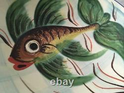 Vintage Spanish Puidgemont Studio Art Pottery Dish Decorated With Fish