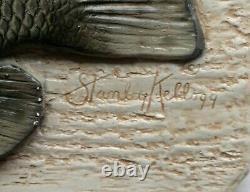 Vintage Stanley Kellogg Studio Pottery Petoskey, Michigan Rock Bass plack