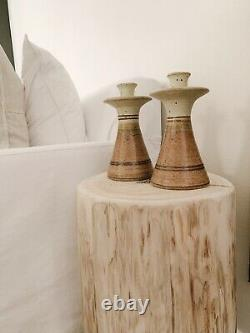 Vintage Stearns Studio Pottery Ceramic Candlesticks Set Of 2