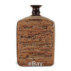 Vintage Studio Art Pottery Bottle Vase Brutalist Textured Jerry Meek Attribution