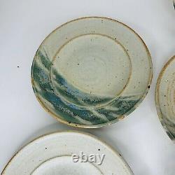 Vintage Studio Art Pottery Glazed Hand Thrown Plates Blue/green 9 Set Of (7)