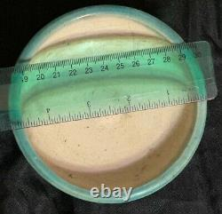 Vintage Studio Art Pottery Handcrafted Shallow Bowl Turquoise with Symbols Signed