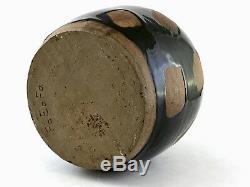 Vintage Studio Art Pottery Mirror Black Bottle Abstract Weed Pot Hamada Leach