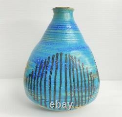 Vintage Studio Art Vase By Stephen Polchert Nebraska- Stunning Blue Glaze MCM