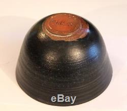 Vintage Studio Bowl Dick Steltzner Pottery Black Signed 70s Natzler Beato Alfred