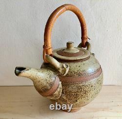 Vintage Studio Handcrafted Ceramic Stoneware Pottery Teapot Art Bamboo