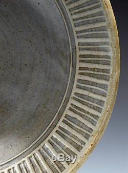 Vintage Studio Pottery Bowl With Stylised Tree Design Signed 20th C