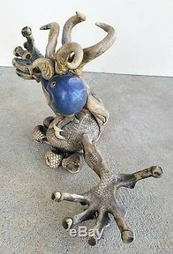 Vintage Studio Pottery Handmade Extra Terrestrial Alien Sculpture Artist Signed