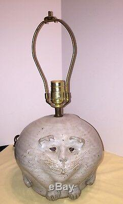 Vintage Studio Pottery Kitty Cat Lamp Folk Art