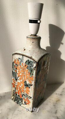 Vintage Studio Pottery Lamp Peach Orange Floral