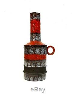 Vintage Studio Pottery MID Century Ceramic Vase Fat Lava Glaze By J. Helleroe