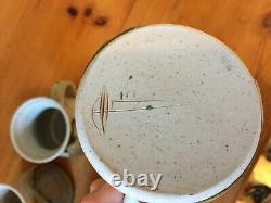 Vintage Studio Pottery Mugs Glazed Set 4