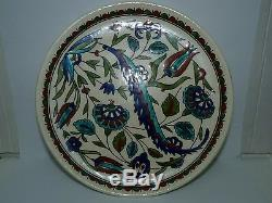 Vintage Turkish Kütahya Studio Pottery Hand-Painted Plate, Marked, D 21.3 cm