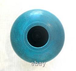 Vintage Turquoise/Teal Raku Studio Art Pottery Vase/Pot, Signed Les Mitchell