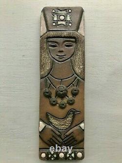 Vintage USSR TEKT Studio Art Pottery Wall Plaque tile Woman & Bird VGC Russian