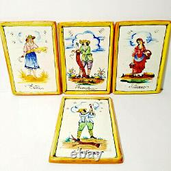Vintage VIETRI Studio Art Ceramic Wall Plaque Tiles Set of 4 The Four Seasons