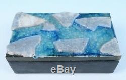 Vintage WAYLANDE GREGORY Mid-Century Modern ICE BLUE Signed Studio Pottery Box
