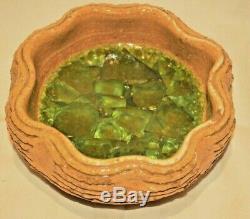 Vintage Waylande Gregory Pottery Bowl Studio Sculpture Fused Glass Compote Plate