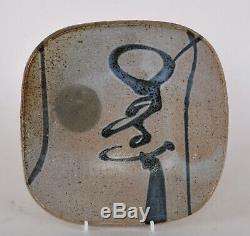 Vintage Wayne Ngan Studio Pottery Dish on Four Legs Slab Plate Canadian Listed