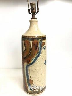 Vintage Wishon Harrell Studio Pottery Lamp Muncie Indiana/California Signed MCM